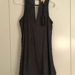 Dresses - Suede Lace Up Dress